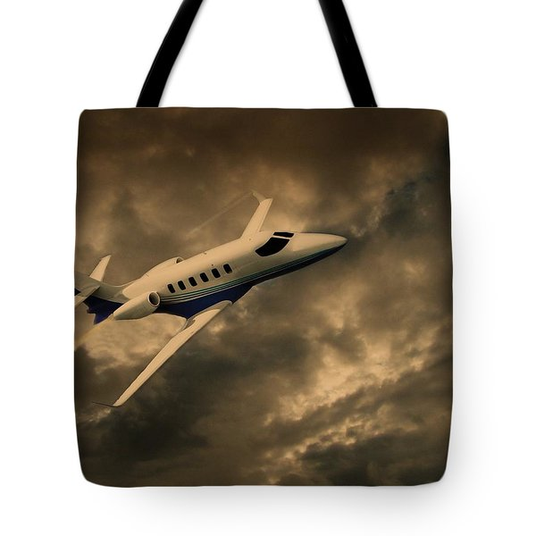 Jet Through The Clouds Tote Bag