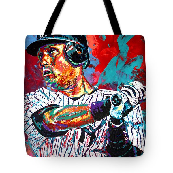 Jeter At Bat Tote Bag by Maria Arango