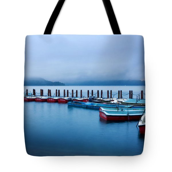 Tote Bag featuring the photograph Jetty At Sun Moon Lake by Yew Kwang