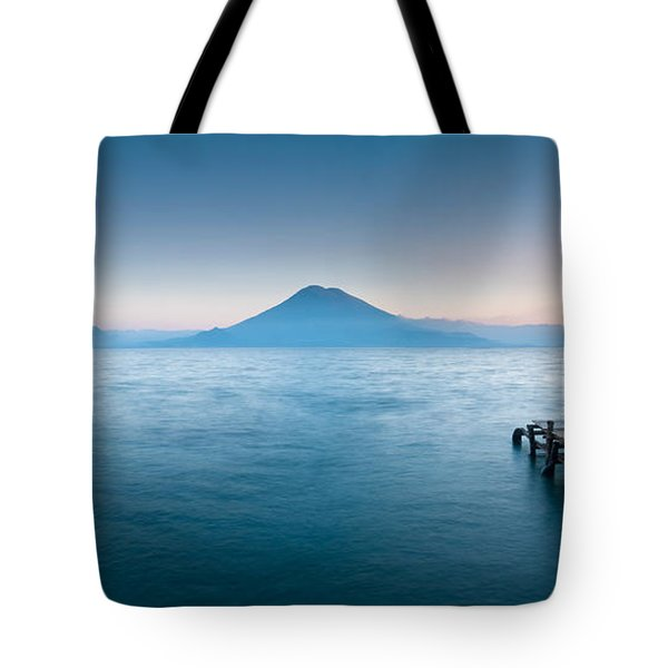 Jetty In A Lake With A Mountain Range Tote Bag