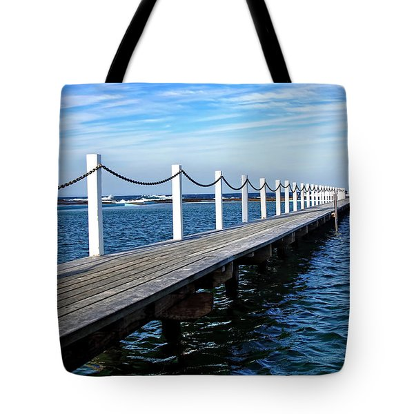 Jetty Stretching To The Ocean Tote Bag by Kaye Menner
