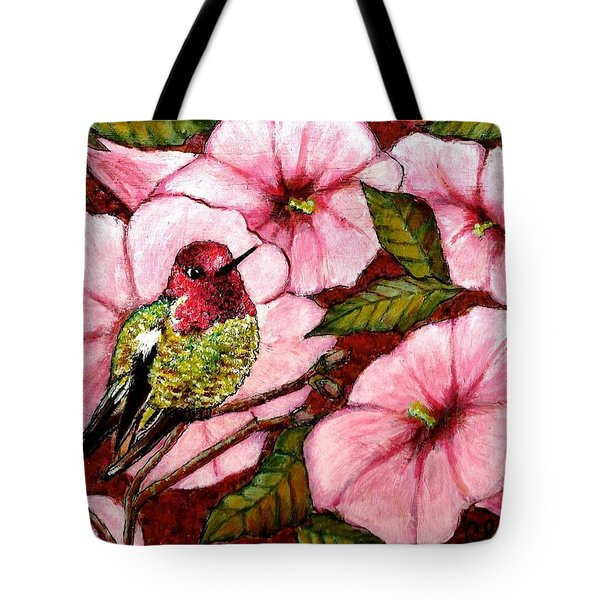Tote Bag featuring the painting Jewel Among Blooms by VLee Watson