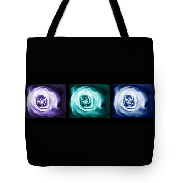 Jewel Tone Abstract Roses Triptych Tote Bag by Jennie Marie Schell