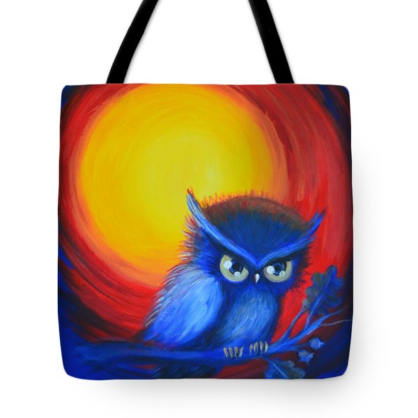 Tote Bag featuring the painting Jewel-tone Vortex With Owl by Agata Lindquist