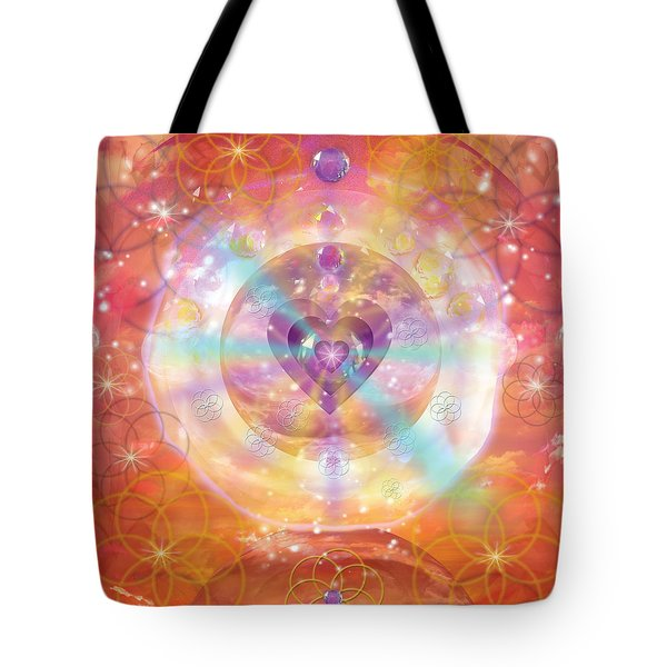 Jeweled Heart Of Happiness Tote Bag by Alixandra Mullins