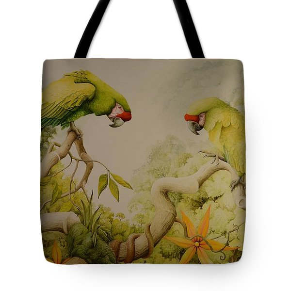 Jewels Of The Rain Forest  Military Macaws Tote Bag