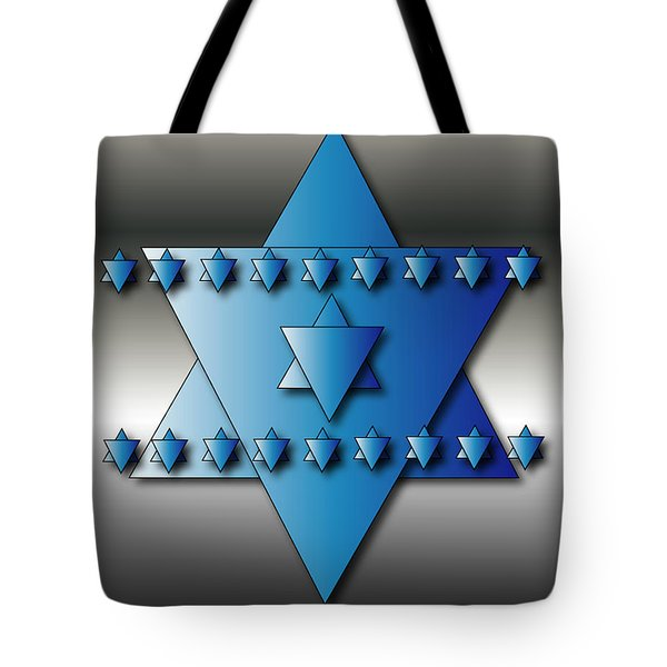 Tote Bag featuring the digital art Jewish Stars by Marvin Blaine