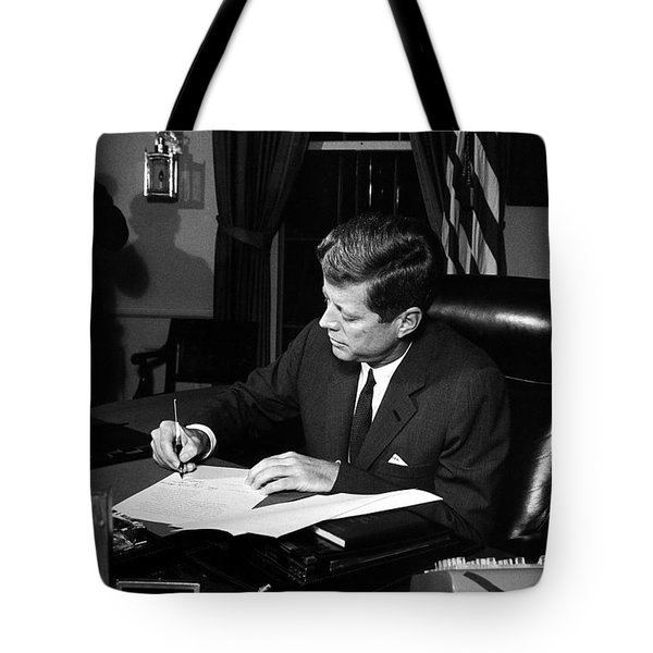 Jfk Signing The Cuba Quarantine Tote Bag by War Is Hell Store