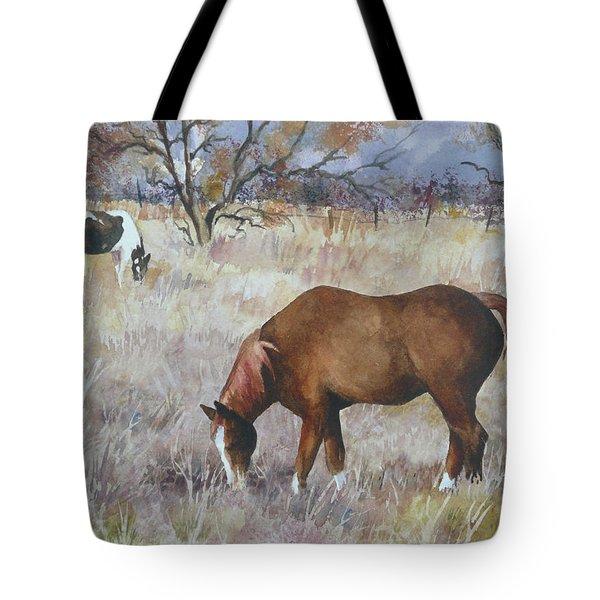 Jill's Horses On A November Day Tote Bag