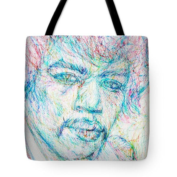 Jimi Hendrix - Colored Pens Portrait Tote Bag