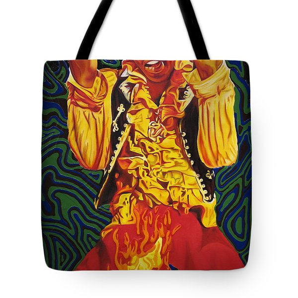 Jimi Hendrix Fire Tote Bag by Joshua Morton