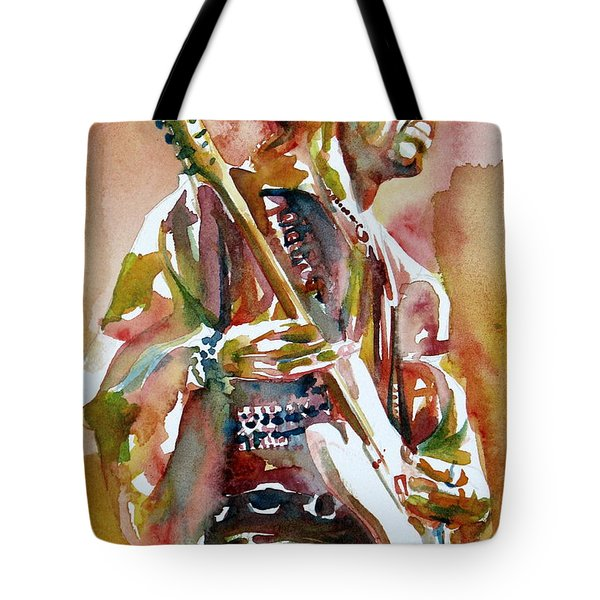 Jimi Hendrix Playing The Guitar Portrait.3 Tote Bag