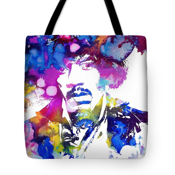 Jimi Hendrix - Psychedelic Tote Bag by Doc Braham