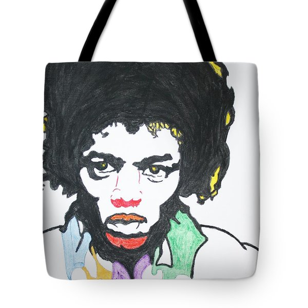 Tote Bag featuring the painting Jimi Hendrix by Stormm Bradshaw