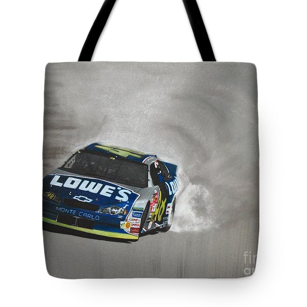 Jimmie Johnson-victory Burnout Tote Bag by Paul Kuras
