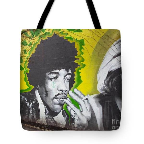 Jimmy Hendrix Mural Tote Bag by Chris Dutton