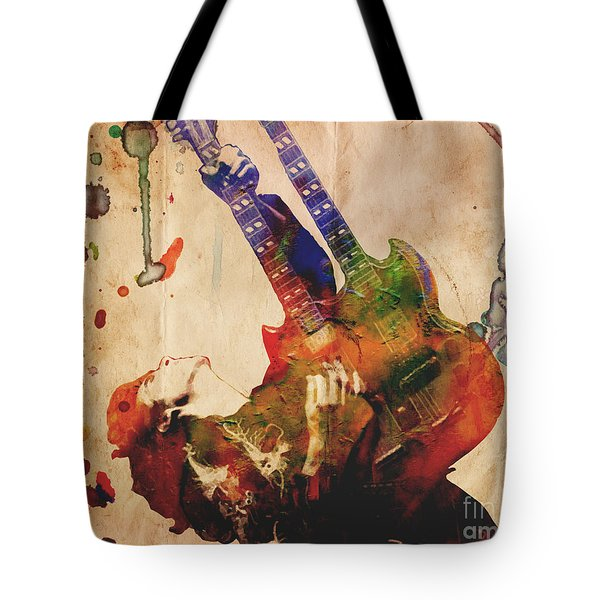 Jimmy Page - Led Zeppelin Tote Bag by Ryan Rock Artist
