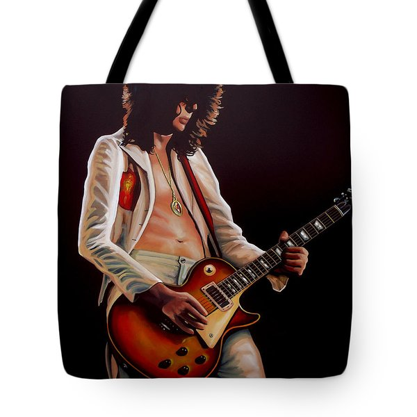 Jimmy Page In Led Zeppelin Painting Tote Bag