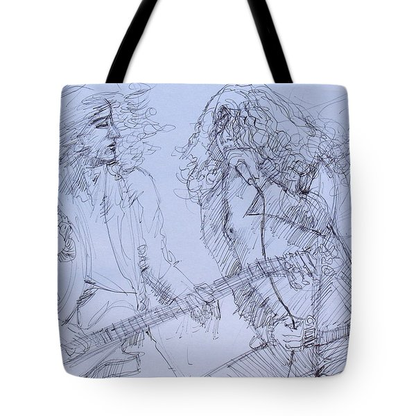 Jimmy Page And Robert Plant Live Concert-pen Portrait Tote Bag by Fabrizio Cassetta