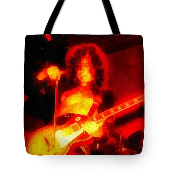 Jimmy Page On Fire Tote Bag