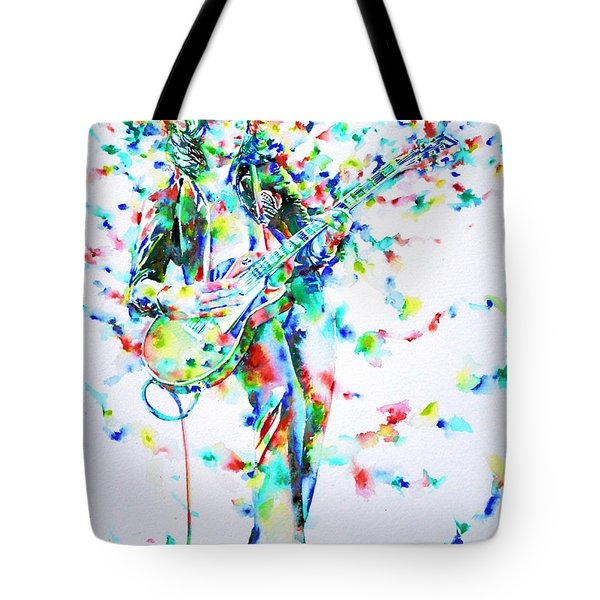 Jimmy Page Playing The Guitar - Watercolor Portrait Tote Bag by Fabrizio Cassetta