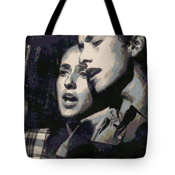 Joan Baez And Bob Dylan Tote Bag by Paulette B Wright