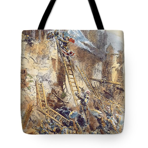Joan Of Arc At The Assault Of The Tournelles Colour Litho Tote Bag