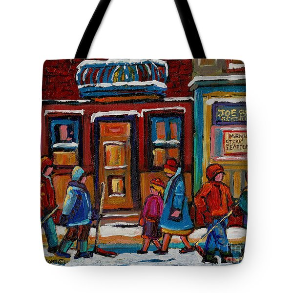 Joe Beef Restaurant And Boys With Hockey Sticks Tote Bag by Carole Spandau