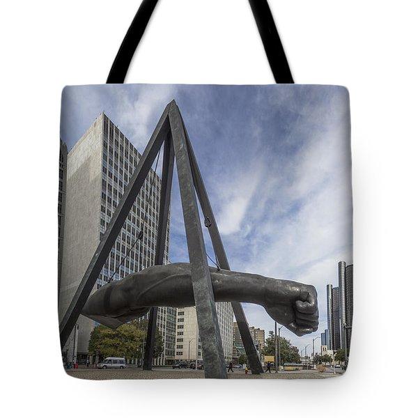 Joe Louis Fist Downtown Detroit  Tote Bag
