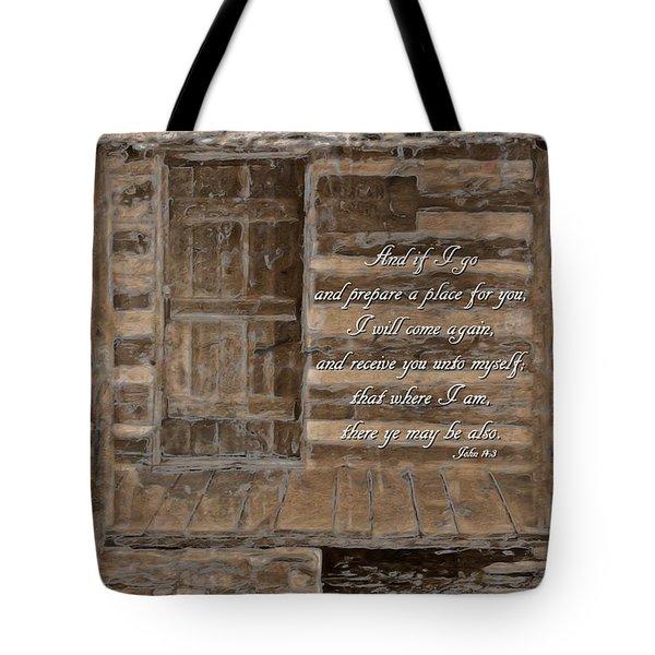John 14 3 Tote Bag by Michelle Greene Wheeler