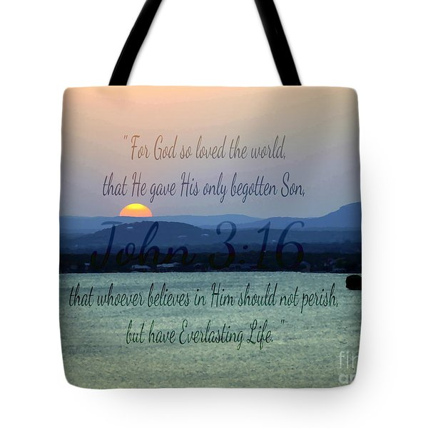 John 3 16 Lake Sunset Tote Bag