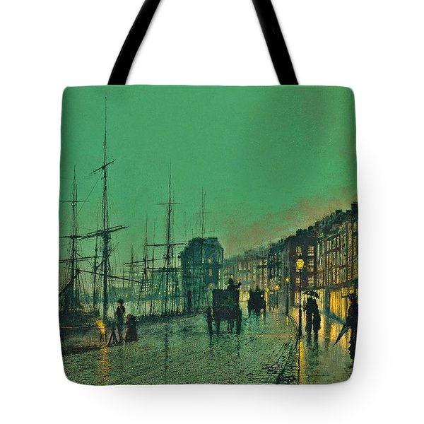 John Atkinson Grimshaw Shipping On The Clyde 1881 Tote Bag