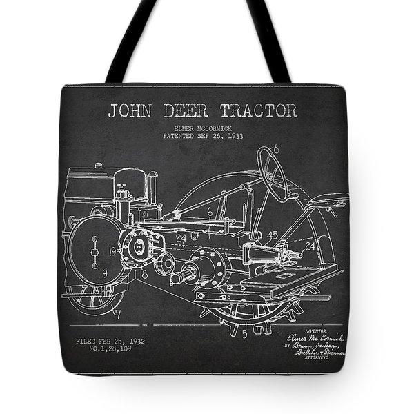 John Deer Tractor Patent Drawing From 1933 Tote Bag by Aged Pixel