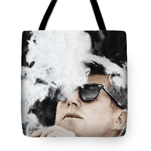 John F Kennedy Cigar And Sunglasses Tote Bag