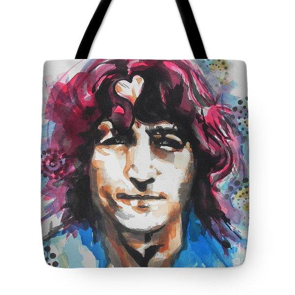 John Lennon..up Close Tote Bag by Chrisann Ellis