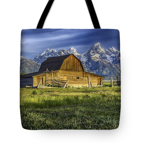 Tote Bag featuring the photograph John Moulton Barn by Bitter Buffalo Photography