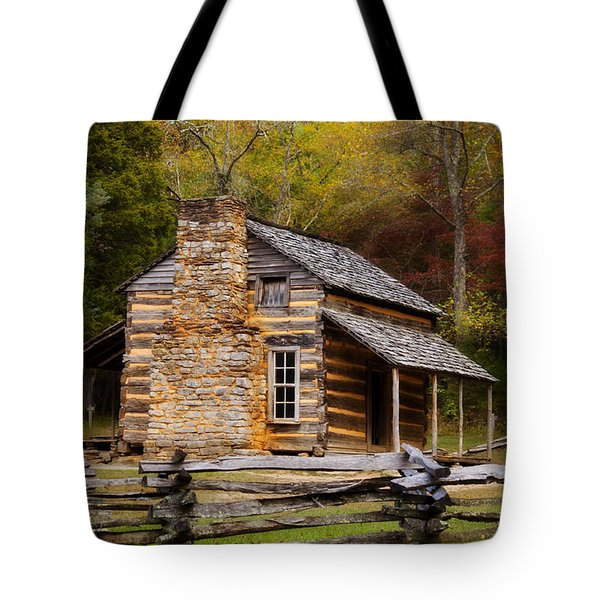 John Oliver Cabin Cades Cove Tote Bag by Lena Auxier