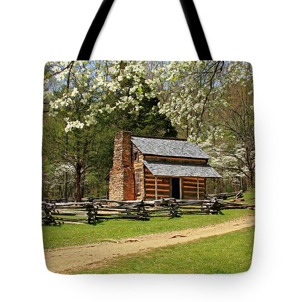 Tote Bag featuring the photograph John Oliver's Cabin by Geraldine DeBoer