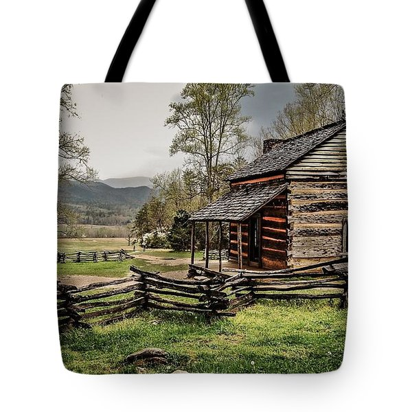 Tote Bag featuring the photograph John Oliver's Cabin In Spring. by Debbie Green