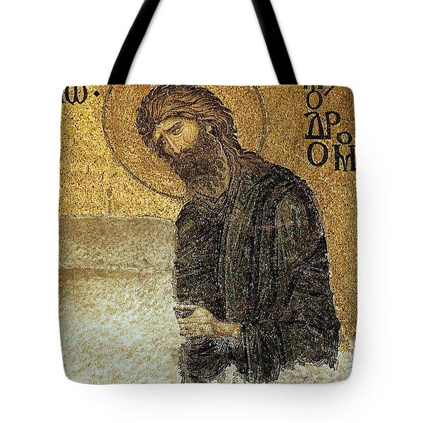 John The Baptist-detail Of Deesis Mosaic  Hagia Sophia-judgement Day Tote Bag