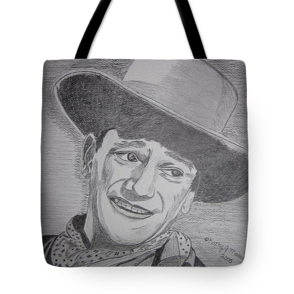 Tote Bag featuring the painting John Wayne by Kathy Marrs Chandler