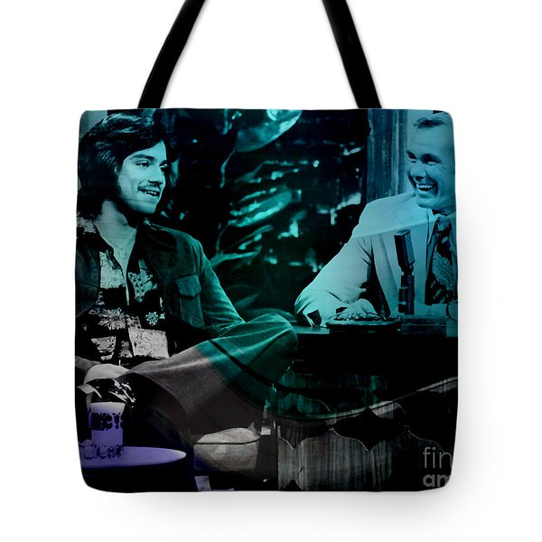 Johnny Carson And Freddie Prince Jr Tote Bag by Marvin Blaine