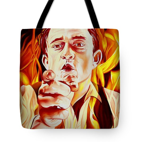 Tote Bag featuring the painting Johnny Cash And It Burns by Joshua Morton