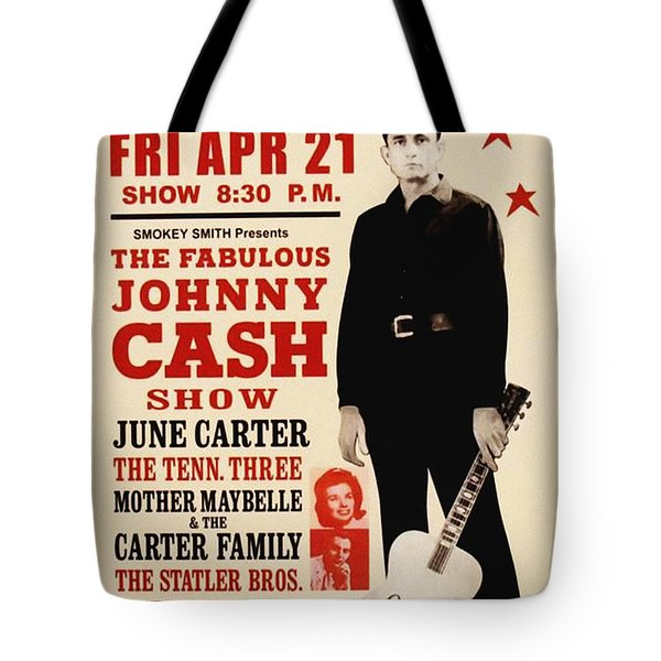 Johnny Cash Concert Poster Tote Bag