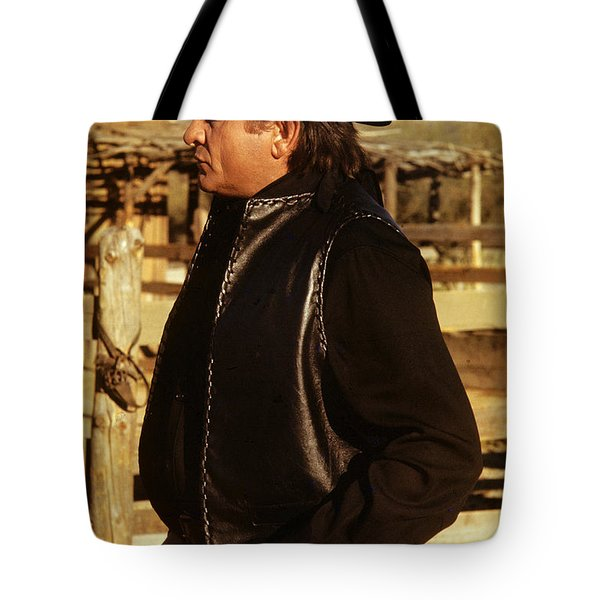 Tote Bag featuring the photograph Johnny Cash Golden Gate Peak Old Tucson Arizona 1971 by David Lee Guss
