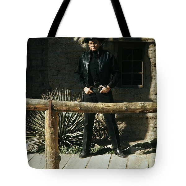 Tote Bag featuring the photograph Johnny Cash Gunfighter Hitching Post Old Tucson Arizona 1971 by David Lee Guss