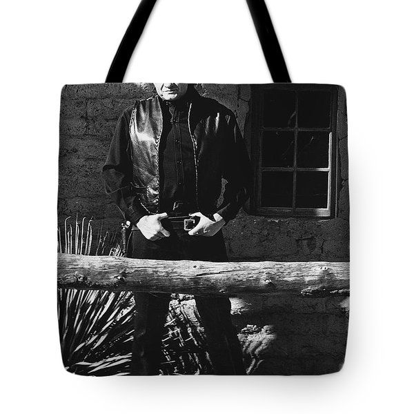 Tote Bag featuring the photograph Johnny Cash Gunslinger Hitching Post Old Tucson Arizona 1971  by David Lee Guss