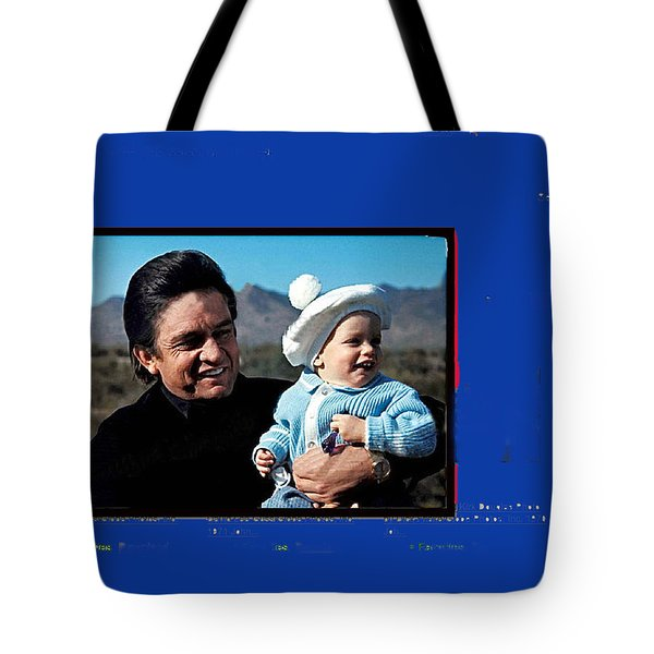 Tote Bag featuring the photograph Johnny Cash John Carter Cash Old Tucson Arizona 1971 by David Lee Guss