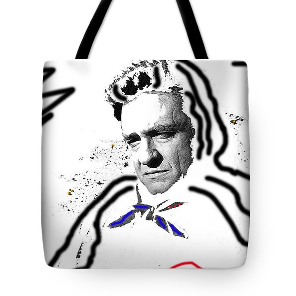 Tote Bag featuring the photograph Johnny Cash Man In White Literary Homage Old Tucson Arizona 1971-2008 by David Lee Guss