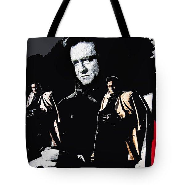Tote Bag featuring the photograph Johnny Cash Multiples  Trench Coat Sitting Collage 1971-2008 by David Lee Guss